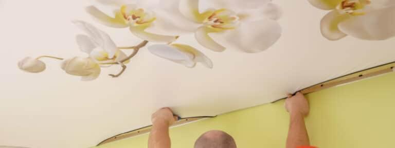 plafond tendu imprime fleurs